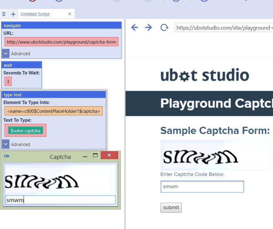 Solve CAPTCHA - UBot Studio
